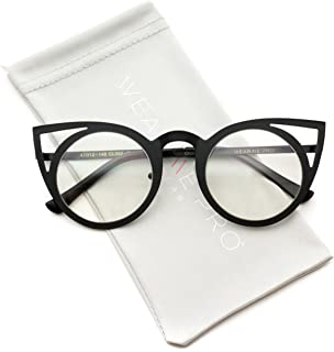 Cut Out Cat Eye Metal Frame Clear Lens Glasses