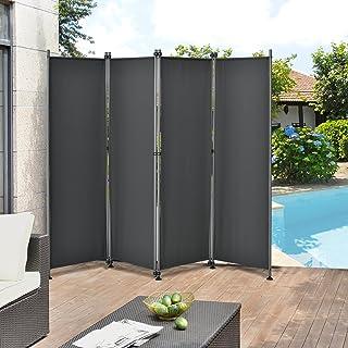 [pro.tec]® Pared divisoria / Biombo - 215 x 170 cm - Gris - Biombo exterior - Mampara - Toldo - Protector - Separador de espacios