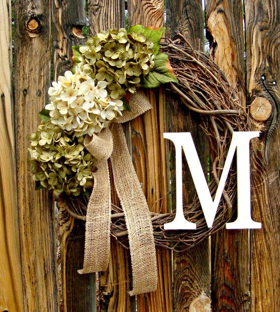 Green and Cream Hydrangea Wreath wreath with Monogram