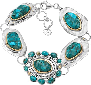 Santa Fe' Compressed Turquoise Link Bracelet in Sterling Silver and Brass, 7