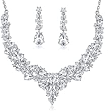 Choker WeddingJewelrySets Austrian Crystal Necklace Earrings Set Gifts fit Wedding Dress
