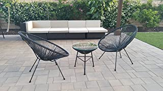 Indoor Outdoor Acapulco Woven Lounge Chair, All-Weather Patio Pear Shaped Weave Chair,Black,2 Piece Chairs with 1 Top Glass Table