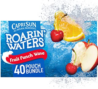 Capri Sun Roarin' Waters Fruit Punch Wave Naturally Flavored Water Beverage (40 Pouches, 4 Packs of 10)