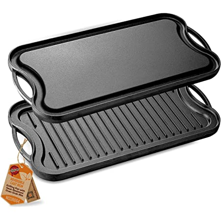 NutriChef Reversible Plate-PFOA & PFOS Free Oven Safe Flat Cast Iron Skillet Griddle Grilling Pan w/Scraper for Electric Stovetop, Ceramic NCCIRG64
