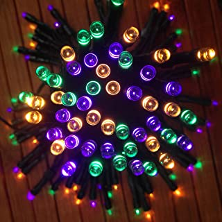 DeVida Halloween Decorations Solar String Lights in Purple, Orange and Green, 100 Mini LED Set Plus 13ft Long Lead Wire, Outdoor Waterproof Decor for Tree Wrap, Patio, Fence