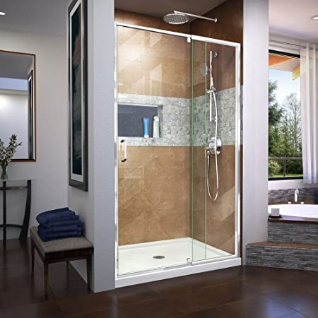 Aston Nautis Gs 40 X 72 Completely Frameless Hinged Shower Door With Glass Shelves Brushed Stainless Steel Amazon Com