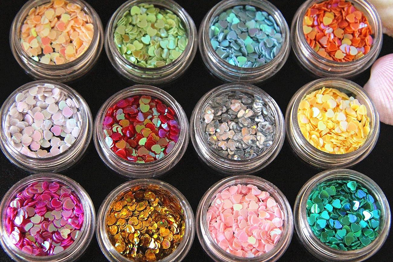 恥ずかしさ狂乱試用Glitter Powderジェルネイル ネイルパーツ ハート ホログラム グリッター アートラメグリッター 12色セット 宇宙塗り レジン封入 ネイル