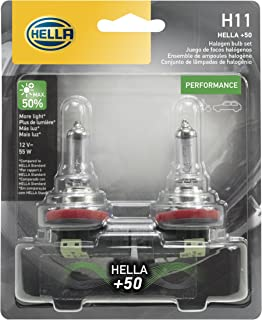 HELLA H11P50TB + 50% + +50 Performance H11 Bulbs, 12V, 55W 2 Pack