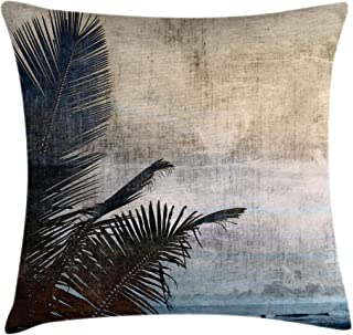 Ambesonne Hawaiian Throw Pillow Cushion Cover, Palm Tree Leaves on Grunge Background with Sea Vintage Waterscape Illustration, Decorative Square Accent Pillow Case, 16