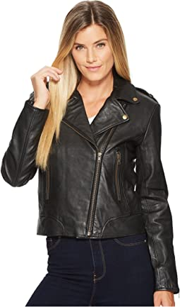 Cosette Concealed Carry Leather Moto Jacket