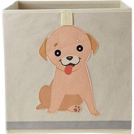 """Organizix Foldable Animal Storage Bins Basket Cube Kids Toy Box Organizer for Kids and Nursery - 12"""" L x 12"""" W x 12"""" H - Dog"""