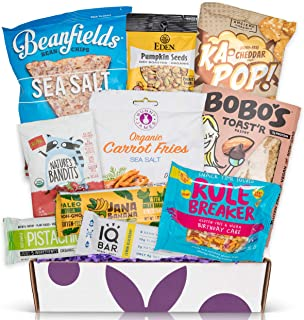 Vegan Gluten Free Sampler Box- Mix of Chips, Protein Bars, Cookies, Fruit Snacks Care Package Gift Box (10 Count)