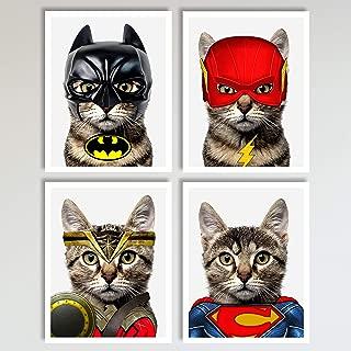 Superhero Cats 4 Piece Set, Bat Cat, Lightning Cat, Super Cat, Wonder Cat Prints, Neutral Wall Decor, Home and Kids Bedroom Superhero Decor Wall Art Posters 4 Piece Set, 11 x 14 inches each Unframed