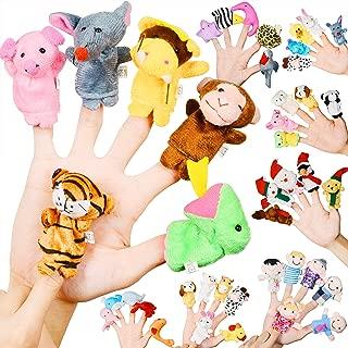 Original Color Finger Puppet, 43 Pack Assorted Soft Plush Finger Dolls,Cute Velvet Animal,Family,Santa Claus,Sea Animal Finger Puppet Toy for Kids Girls Boys Toddlers,Finger Animal Puppet Play Set