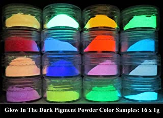 PRESTIGE GLOW IN THE DARK PIGMENT POWDER. LONGEST LASTING GLOW IN THE DARK POWDER. RECOMMENDED FOR ALL COLORLESS MEDIUM. INK. PAINT. PLASTIC RESIN. GLASS. ETC... (16g (16 x 1g), Sample Pack)