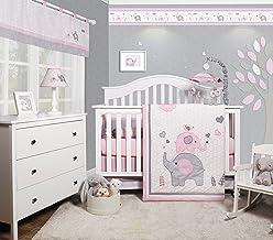 GEENNY OptimaBaby Pink Grey Elephant 6 Piece Baby Girl Nursery Crib Bedding Set