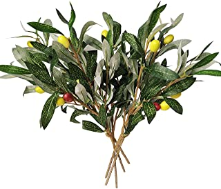 Artificial Olive Leaves Branches (5pcs) and Stems with Fruit | Greenery for Vases | Faux Tree Plant | Fake Olives Leaf Spr...