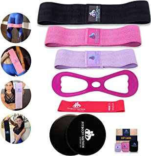 Fabric Resistance Bands(3pcs)for Booty/Hip/Legs/thighs Exercise, Mini Resistance Band(1pc), 8Shape Elastic Booty Band(1pc)...