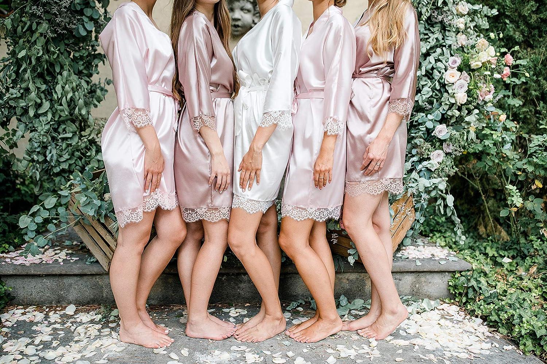 VA-Fashion Damen Morgenmantel Kimono Satin Spitze kurz Größen S-XXL Rosa