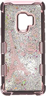 MyBat Cell Phone Case for Samsung Galaxy S9 - Rose Gold Eiffel Tower/Silver Sparkles