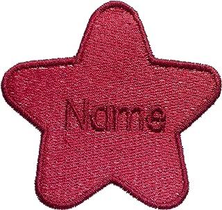 Parche en forma de estrella con nombre personalizado bordado, Red (size 74x78mm), 1 Sew on(permanent solution)