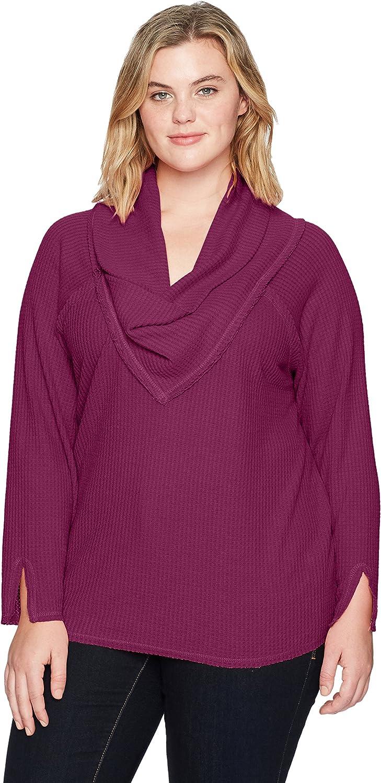 Democracy Womens Plus Size Long Sleeve Cowl Neckline Top Sweatshirt