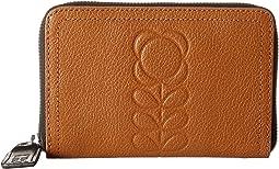 Orla Kiely - Embossed Flower Stem Leather Medium Zip Wallet