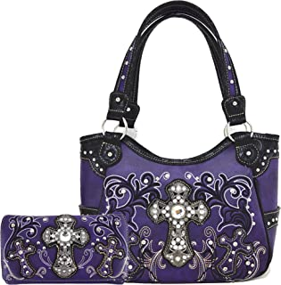 Western Style Rhinestone Cross Totes Purse Concealed Carry Handbags Women Country Shoulder Bag Wallet Set