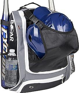 Boar Athletics 青年棒球包 - 男孩棒球装备背包 - 带头盔夹的垒球包 - 鞋隔层和围栏挂钩 - 多用途 T 球棒包可容纳水壶、手套、篮球
