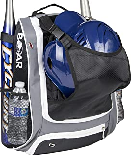 Boar Athletics Youth Baseball Bag - Baseball Gear Backpack for Boys - Softball Bag with Helmet Holder - Shoe Compartment & Fence Hook