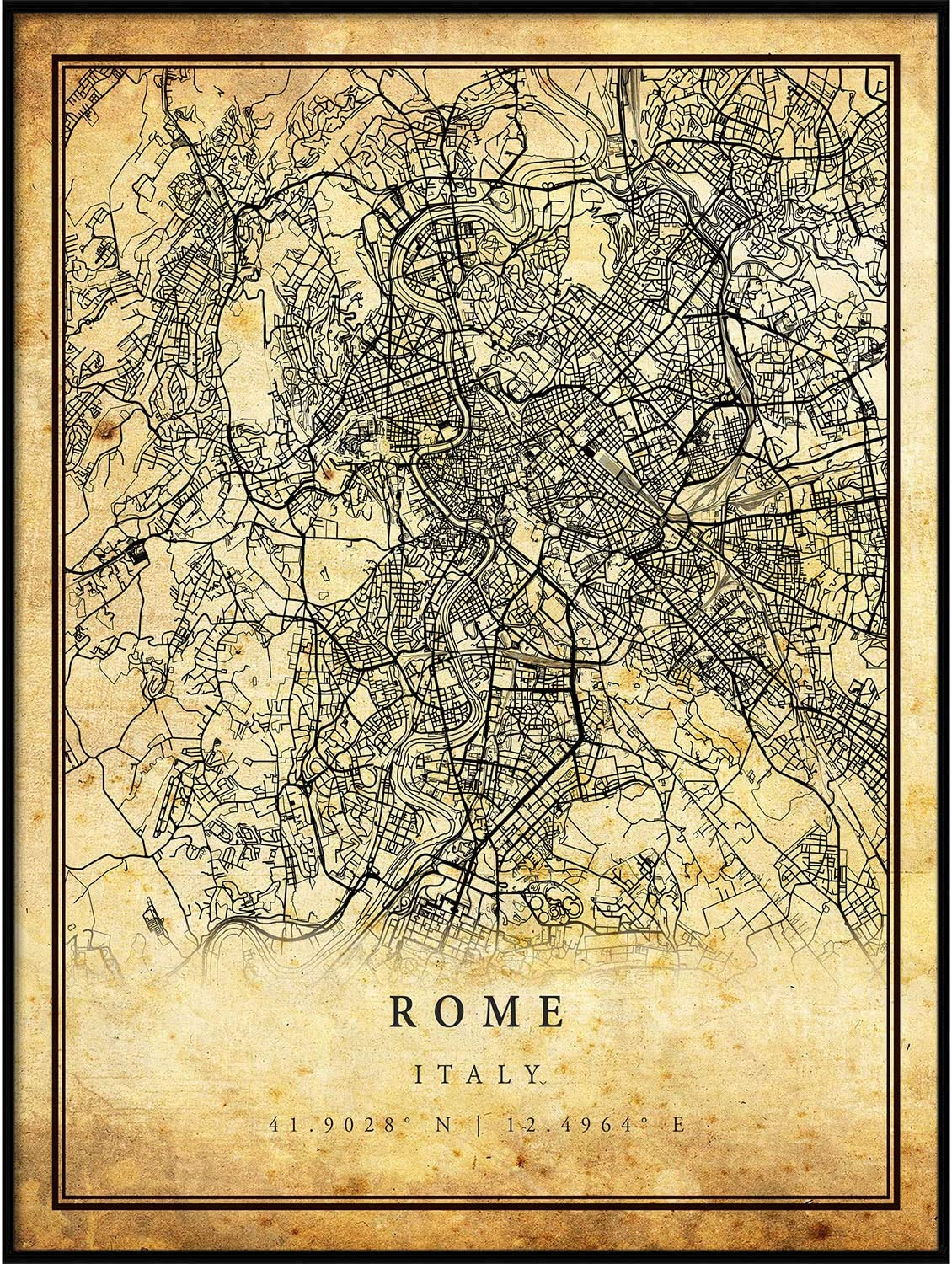 Rome Fees free map Vintage Style Manufacturer regenerated product Poster City Artwork Prints Print Old