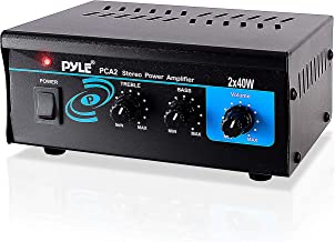 Home Audio Power Amplifier System - 2X40W Mini Dual Channel Sound Stereo Receiver Box w/LED - for Amplified Speakers, CD Player, Theater via 3.5mm RCA - for Studio, Home Use - Pyle PCA2