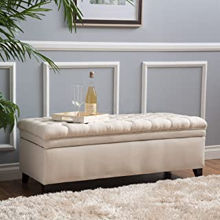 Christopher Knight Home Laguna Button Tufted Fabric Storage Ottoman Bench, Beige