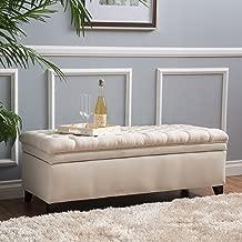 Christopher Knight Home Laguna Button Tufted Fabric Storage Ottoman Bench, Beige