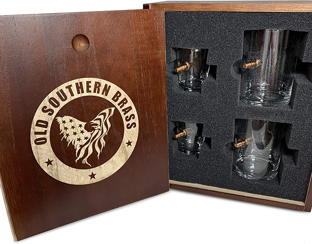 308 Real Solid Copper Bullet Whiskey Shot Glass Gift Set Real Wood Ammo Crate Gift Box