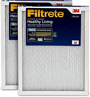 Filtrete 12x24x1, AC Furnace Air Filter, MPR 1900, Healthy Living Ultimate Allergen, 2-Pack