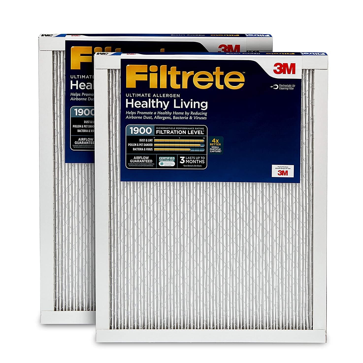 Filtrete 16x25x1, AC Furnace Air Filter, MPR 1900, Healthy Living Ultimate Allergen, 2-Pack wxlfdhevciojv7