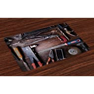 Ambesonne Industrial Place Mats Set of 4, Crafting Equipment with Obsolete Dusty Mechanic Tools...