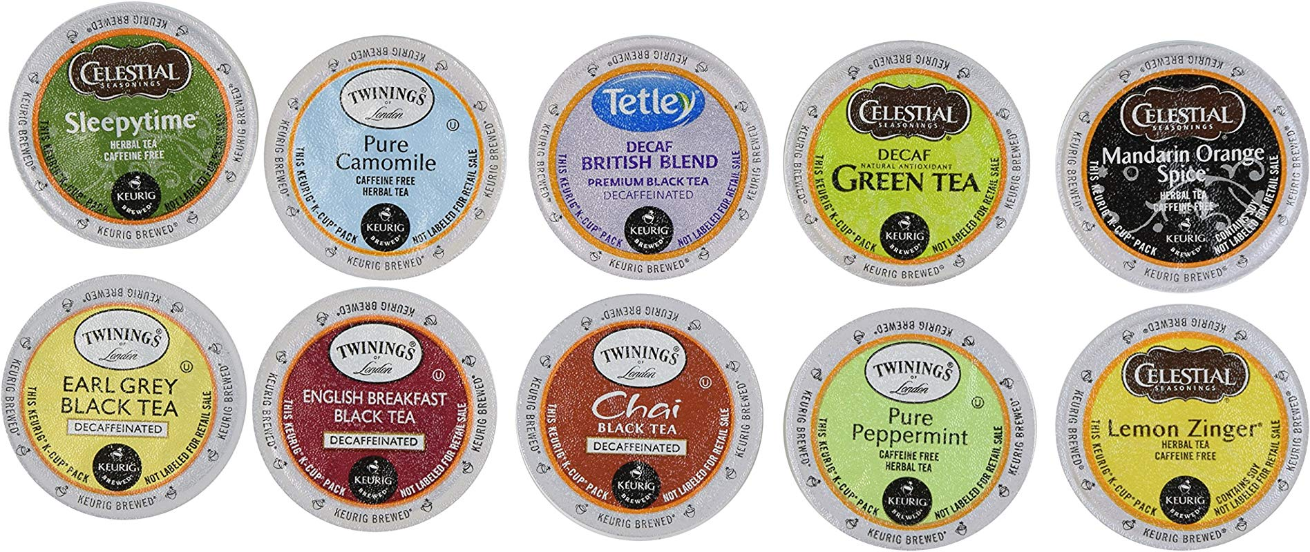 20 Count Variety Decaf Tea K Cup For Keurig Brewers From Celestials Twinnings 10 Flavors