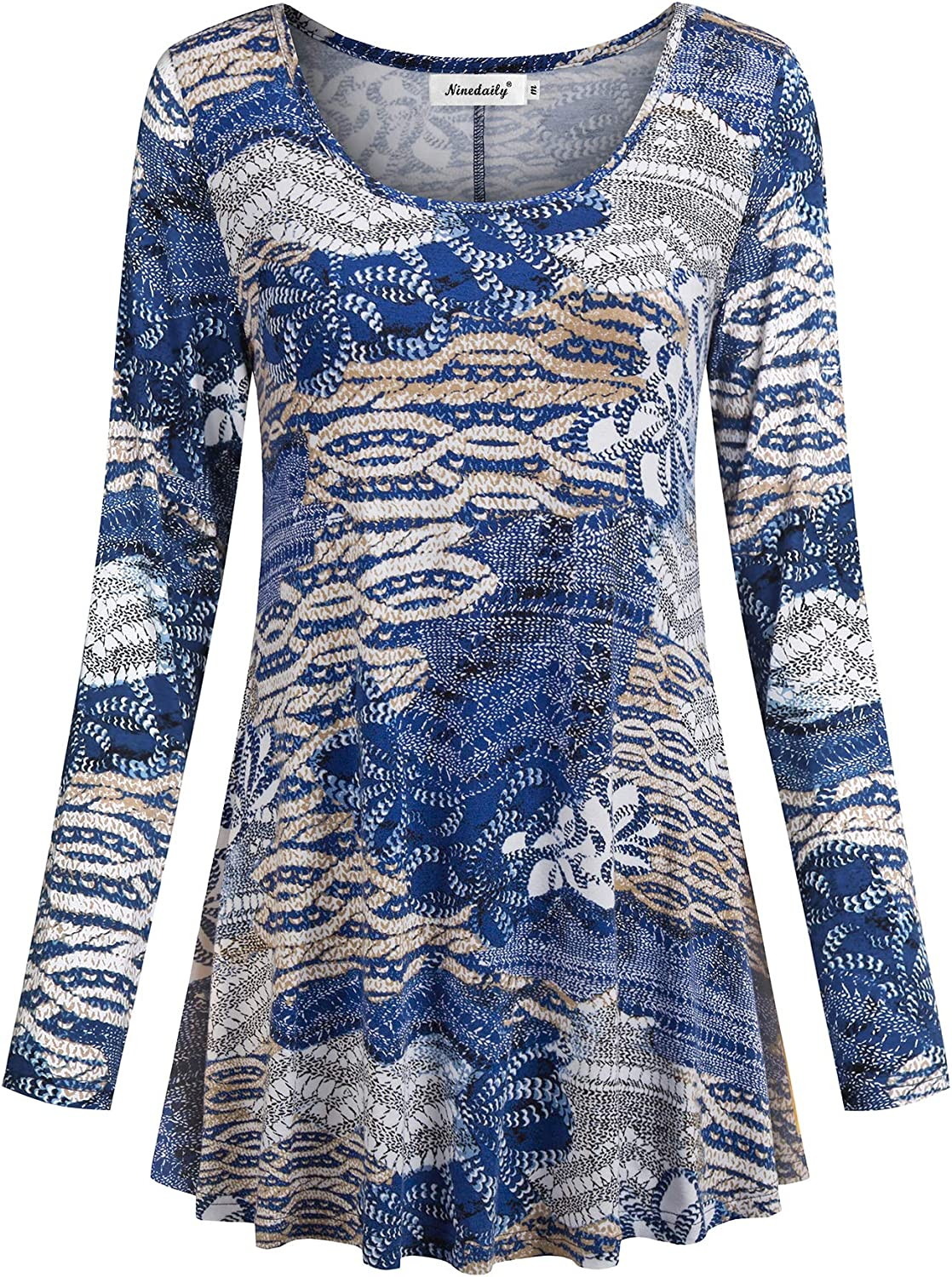Ninedaily Women's Tops Fall Long Sleeve Floral Loose Dressy Tunic Blouse