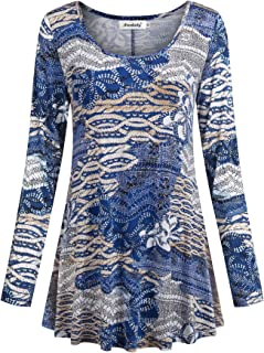 Women's Tops Long Sleeve Scoop Neck Floral Loose Dressy Tunic Blouse