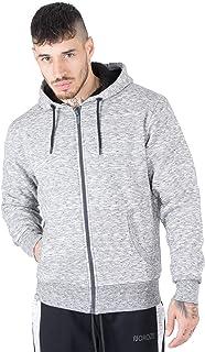 NOROZE Men's Sherpa Hoodie Borg Sweatshirt Top Full Zip Sweat Jacket Long Sleeve Fleece Zipper Top