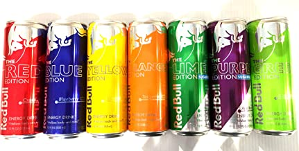 Red Bull Editions Variety Pack - Red, Blue, Yellow, Orange, Purple, Green, Lime - 12fl.oz. (Pack of 7)