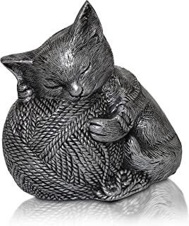 Royal Matter Silver Sleeping Kitty Urn with Yarn Ball. Capacity: 4 Cubic Inches - 6.25? x 6.5? x 4?