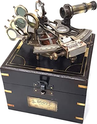 """collectiblesBuy Vintage Brass Nautical Sextant J.Scott London Antique sextants with Box Educational calibrated, 5"""" inch"""