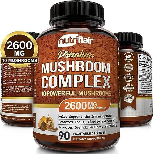 NutriFlair Mushroom Supplement 2500mg - 90 Capsules - 7 Organic Mushrooms - Reishi, Lions Mane, Cordyceps, Chaga, Tur...