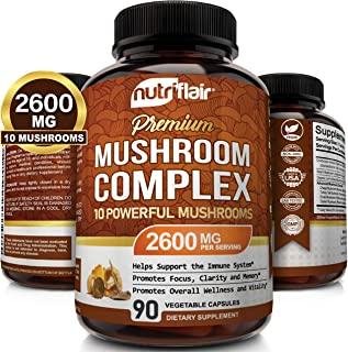 NutriFlair Mushroom Supplement 2600mg - 90 Capsules - 10 Mushrooms - Reishi, Lions Mane, Cordyceps, Chaga, Turkey Tail, Ma...