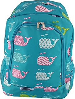 Turquoise Whale Pattern School Backpack Book bags College Bags Travel Shoulder Bag Day pack for Gril Children and Teens (NBN-27-TO)