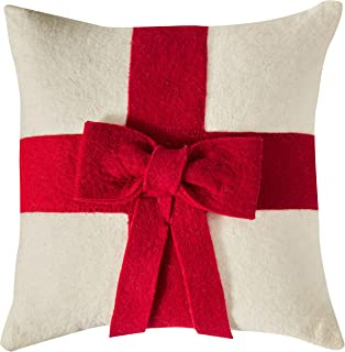 ARCADIA HOME Cream Bow Christmas Cover in Hand Felted Wool-20 Pillow, Red