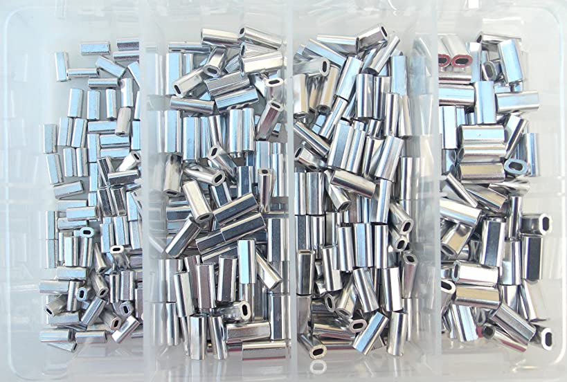 Mini Aluminum Oval Crimp Kit 100pcs each .8,1.0,1.1,&1.3mm 50lb-150lb